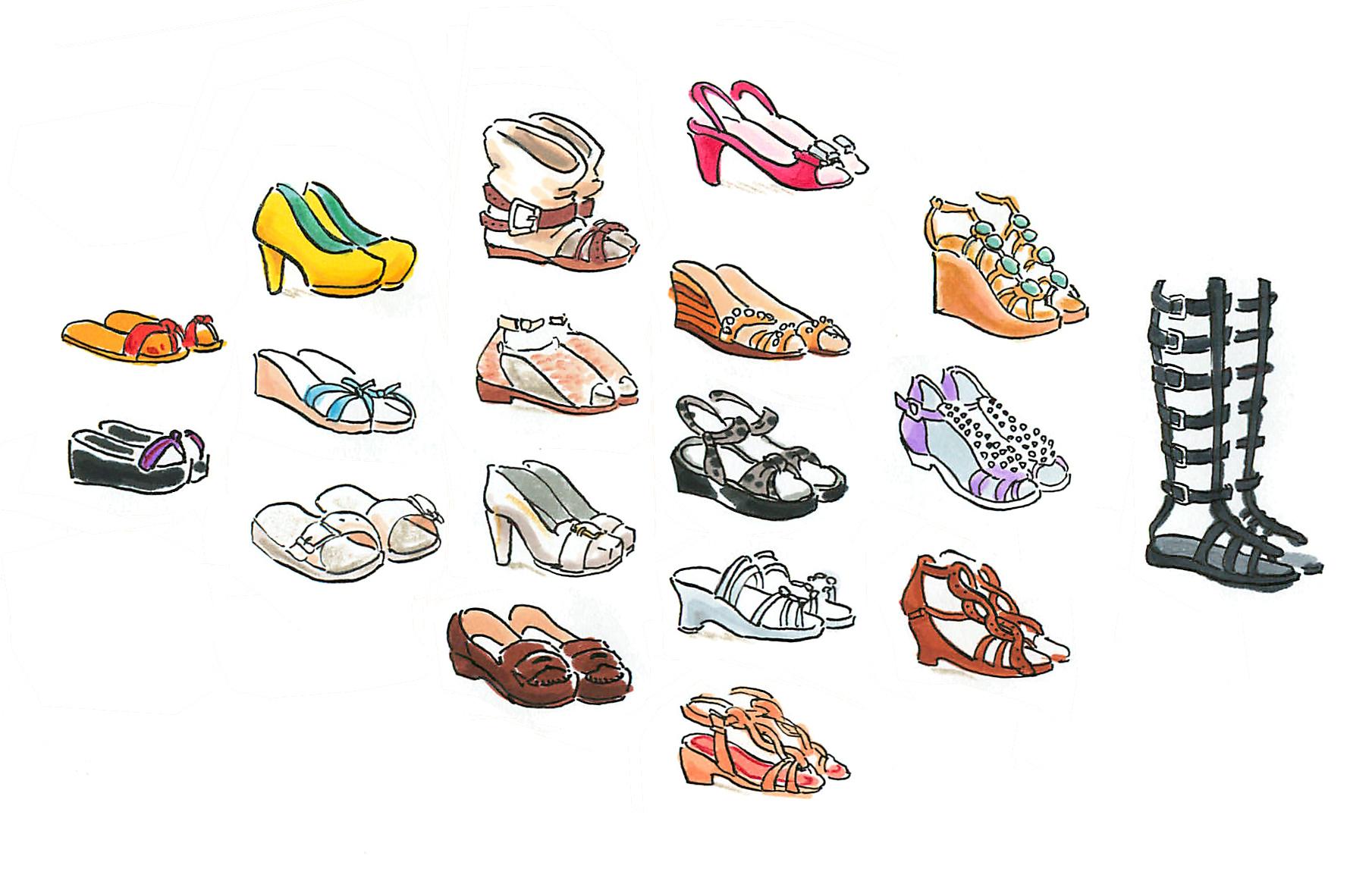 涼し気で、色も鮮やか、夏の靴