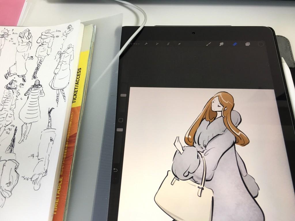 年賀状(寒中見舞)の合間に街角スケッチの清書もしました!(iPadは私物です)